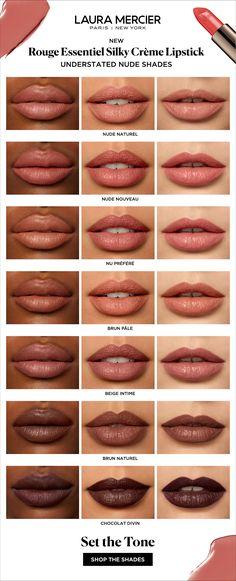 Best Mauve Lipstick Shades - NEW Laura Mercier Rouge Essentiel Silky Crème Lipsticks feature 30 artistry crafted shades in 5 di - Pink Lipstick Shades, Peach Lipstick, Lipstick Tube, Natural Lipstick, Lipstick Swatches, Pink Lipsticks, Lipstick Skin Tone, Dark Lipstick, Laura Mercier Lipstick