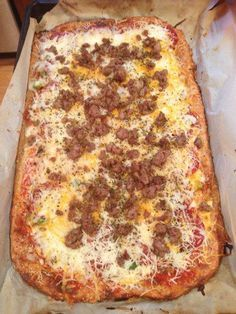 My favorite low-carb pizza crust - mozzarella, almond flour, eggs. (Photo shows a doubled recipe)