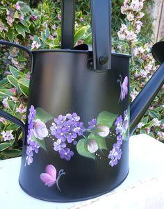 Hand Painted Black Metal Watering Can Pink Roses Purple Beautiful Flower Designs, Beautiful Flowers, Tole Painting, Painting Tips, Metal Watering Can, Watering Cans, Purple Daisy, Outdoor Paint, Green Building