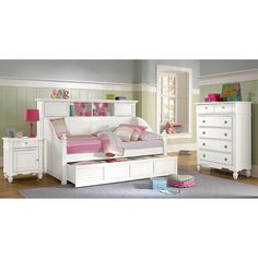 Kids Furniture - Seaside White II Bookcase Daybed with Trundle