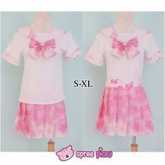 [S-XL]J-Fashion Pink Sakura Sailor Seifuku Top and Skirt Set SP151631