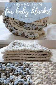 Beautiful & Easy Single Stitch Crochet Baby Blanket {Free Pattern} - - A simple crochet blanket pattern perfect for beginners, using Bernat Baby Blanket or size 6 super bulk yarn and hook. Bernat Baby Yarn, Bernat Baby Blanket, Easy Baby Blanket, Blanket Yarn, Baby Blankets, Crochet Blankets, Crochet Baby Blanket Beginner, Crochet Baby Blanket Free Pattern, Baby Knitting