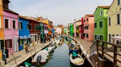 Burano Island is a 40-minute motorboat ride away from Venice. The quiet village is known for its brightly colored homes and authentic, handmade lace- a must see!