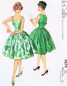 50s GLAMOROUS Evening Cocktail Dress Pattern McCALLS 4879 Gorgeous Design Bust 34 Vintage Sewing Pattern UNCUT