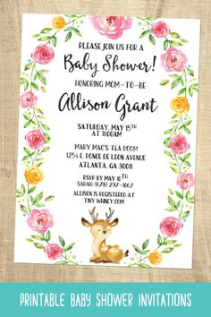 Deer Baby Shower Invitations | Girls Deer Baby Shower Invitations