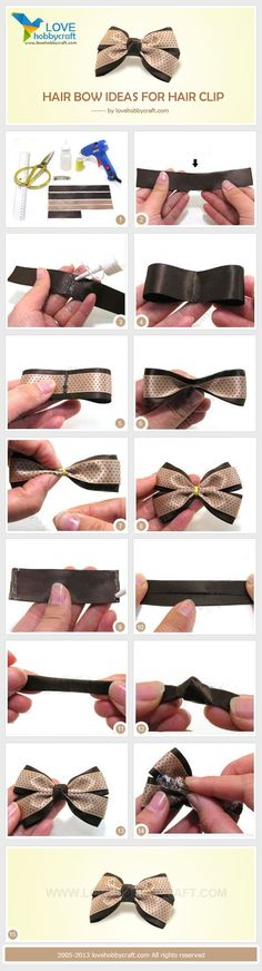 How to make hair bows seems like a challenging DIY project to take on. Hair bows make great hair accessories. Usually younger kids only Diy Hair Bows, Making Hair Bows, Diy Bow, Diy Ribbon, Ribbon Crafts, Ribbon Bows, Ribbons, How To Make Hair, How To Make Bows