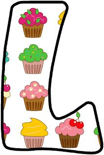 Alphabet with Big Cupcakes. Big Cupcake, Cupcake Party, Bolo Png, Cute Alphabet, Alphabet Letters, Minnie Png, Baking Party, Letter Of The Week, Printable Banner