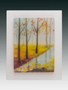 Miniature fused glass landscape... made entirely of crushed glass and little strings of glass. No painting involved! www.pezzulichglassworks.com.