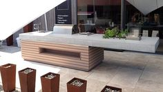 Outdoor-Küche - Inspiration Outside - Outdoor Kitchen Ideas Outdoor Cooking, Outdoor Entertaining, Outdoor Kitchen Countertops, Built In Grill, Bbq Area, Outdoor Kitchen Design, Outdoor Kitchens, Outdoor Furniture Sets, Outdoor Decor