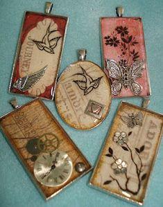 ice resin crafts   Topic: Resin collage pendants #iceresin #diyjewelry