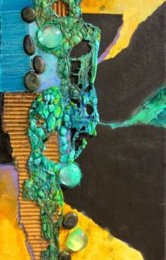 CAROL NELSON FINE ART BLOG.  mixed media piece has tyvek, clear glass blobs, black pebbles, and other collage materials