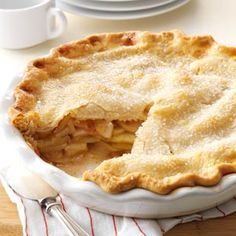 "Apple Pie Recipe -I remember coming home sullen one day because we'd lost a softball game. Grandma, in her wisdom, suggested, ""Maybe a slice of my homemade apple pie will make you feel better."" One bite Brownie Desserts, Apple Desserts, Köstliche Desserts, Delicious Desserts, Dessert Recipes, Recipes Dinner, Coconut Dessert, Pie Dessert, Coconut Pecan"