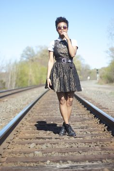 Layered short sleeve button up under dress w/ boots Faintly Masculine, Under Dress, Short Sleeve Button Up, Natural Hair Styles, Hipster, Feminine, My Style, Ariel, Boots
