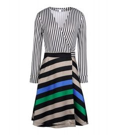 Diane von Furstenberg Amelia Silk Combo Wrap Dress - Now this is how you color in the lines… Shop Diane von Furstenberg's bright stripes now.