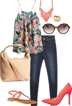 coral dive flower top casual outfit outfit of the day office inspiration style http://www.gordas.pt