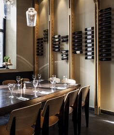 Little Italy Restaurant in Jerusalem By OPA Interior Design (Bottle Display Bar) Deco Restaurant, Restaurant Concept, Restaurant Design, Restaurant Interiors, Wine Shelves, Wine Storage, Cafe Bar, Cave A Vin Design, Little Italy Restaurants