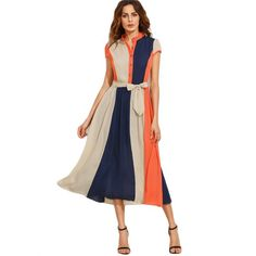 Bow Tie Waist Buttons Midi Stand Collar Short Sleeve A Line Dress for just ₹1738.26.