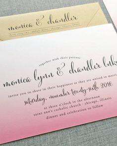 NEW Monica Calligraphy Script Pink Ombre Wedding Invitation. $5.00