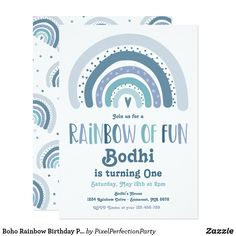 Boho Rainbow Birthday Party Rainbow Of Fun Modern Invitation Rainbow Birthday Party, Baby 1st Birthday, White Envelopes, Custom Invitations, First Birthdays, Rsvp, Card Making, Personalized Items, Boho