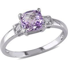 0.04 CT  Diamond TW And 4/5 CT TGW Amethyst Silver Fashion Ring