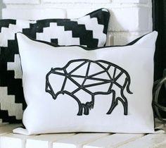 Bits and Pieces Cricut cartridge -- Geometric Buffalo Pillow by The Crafted Sparrow. Make It Now in Cricut Design Space.