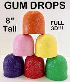 "Giant Foam Gumdrop Props - 8 In-Each gumdrop prop is 8""tall by 6"" diameter and coated with sugar-like sprinkles."