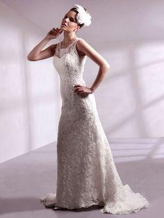 A-line Scoop Lace Satin Sweep Train Ivory Beading Wedding Dresses at Pickeddresses.com