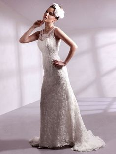 A-line Scoop Lace Satin Sweep Train Ivory Beading Wedding Dresses at Pickeddresses.com