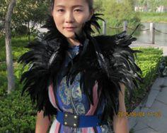 Burlesque Black feathers SHAWL Shrug Shoulders Feathers cape