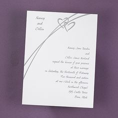 Shooting Hearts wedding invitations ideas for brides These silver foil, stylistic hearts appear to be shooting across your bright white invitation card. Your names are featured at the top left and your invitation verse will be printed right justified as shown.