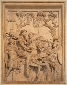 Marcus and the Barbarians. Emperor Marcus Aurelius (161-180 AD) shows his clemence towards the vanquished after his success against Germanic tribes. Bas-relief from the Arch of Marcus Aurelius, Rome, now in the Capitoline Museum in Rome.
