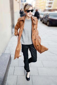grey knit, brown coat, slim leg black trousers and black ballet flats