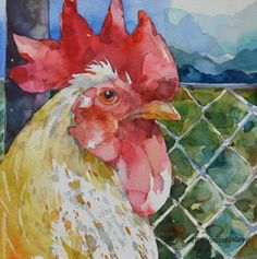 Watercolors by Annelein Beukenkamp Watercolor Bird, Watercolor Animals, Watercolor Paintings, Watercolors, Watercolor Portraits, Watercolor Landscape, Abstract Paintings, Chicken Painting, Chicken Art
