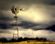 Windmill Storm Clouds Photography Nature by SailorsRavineStudio,