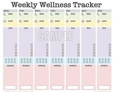 Weekly Wellness Tracker   EDITABLE  workout by FreshandOrganized