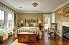 Town & Country Real Estate - Bridgehampton #TownandCountry #Bedroom #HomeDecor #Bridgehampton #Fireplace