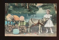 Child with Lamb & Easter Egg Cart Antique 1909 Postcard-ccc823