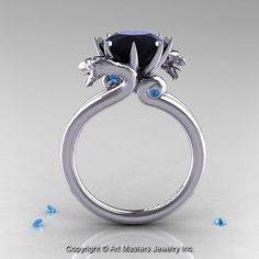 Art Masters 14K White Gold 3.0 Ct Black Diamond Blue by artmasters, $2249.00