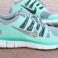 Image of Women's Nike Free 5.0 w/ Swarovski Rhinestones - Green Glow