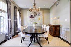 Ashley mixed a contemporary table and chairs and art and with an antique chest and chandelier. Orange Dining Room, Cottage Dining Rooms, Home Design Floor Plans, Garden Table And Chairs, Modern Dining Chairs, Desk Chairs, Painted Chairs, Painted Furniture, Dining Room Inspiration