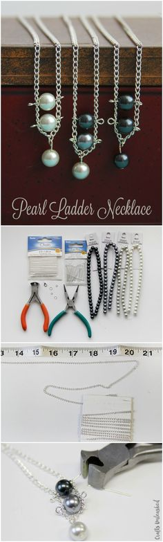 This pearl necklace DIY tutorial creates a striking, stacked ladder design. Customize your piece with different pearl or bead colors.