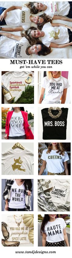 Holiday and wine tees are an essential in any wardrobe. Easily worn casually or dressed, the possibilities are endless. Pair with a blazer, statement necklace or sequin skirt for a stylish and on-trend look.