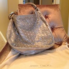 Jimmy Choo Star Studded Silver Hobo