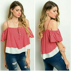 """Red & white cold shoulder blouse top  Small 7/8 Trendy red and white polka dot off the shoulder blouse. Silky smooth polyester. Not sheer or see through.  Size small. Fits ladies 7/8. 26"""" long including the shoulder strap. You can wear this on or off the shoulder. Not a crop top. The white underlay tank is attached. Brand new with tag. Jill Marie Boutique Tops Blouses"""