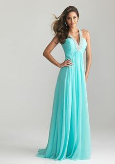 A line Chiffon Halter Floor Length Sleeveless Open Back Prom Gowns - 1300104366B - US$119.99 - BellasDress