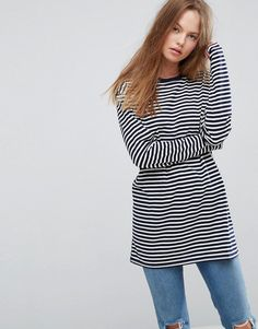 ASOS Stripe T-Shirt with Long Sleeve in Oversize Fit - Multi