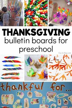 Kids' art is the main focus of these Thanksgiving bulletin board ideas. Your students will love helping you create a holiday display for the classroom! Bulletin Board Sayings, Preschool Bulletin Boards, Thanksgiving Bulletin Boards, Thanksgiving Preschool, Early Learning Activities, Preschool Activities, Enchanted Learning, Thankful Tree, Color Games