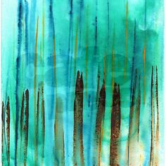 """Beach Fence 60"""" Curtains. This abstract acrylic painting is made up of different shades of turquoise, blues and browns."""