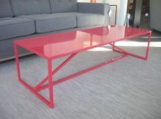 """Strut Coffee Table. $399. 54""""L x 20""""W x 14""""H. Shown in Watermelon. Also available in Ivory, Slate, or White. Area 51 Furniture Seattle"""