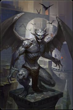 Monster Concept Art, Fantasy Monster, Monster Art, Gargoyles Characters, Fantasy Characters, Creature Concept Art, Creature Design, Fantasy Creatures, Mythical Creatures